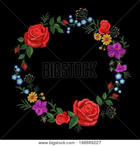 Floral red rose blue violet daisy embroidery round arrangement. Vintage Victorian flower ornament fashion textile decoration. Stitch texture vector illustration art