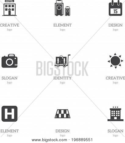 Set Of 9 Editable Trip Icons. Includes Symbols Such As Luggage, Solar, Baggage And More