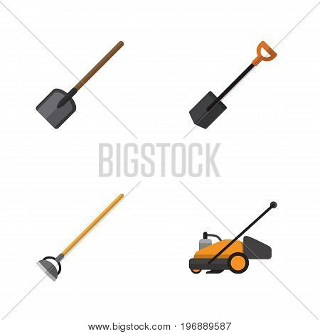Flat Icon Farm Set Of Shovel, Lawn Mower, Spade And Other Vector Objects