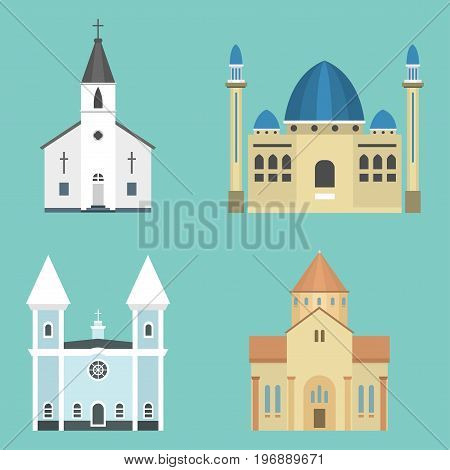 Cathedral church infographic traditional temple building landmark tourism vector illustration. World religions history place historic famous christianity monument.