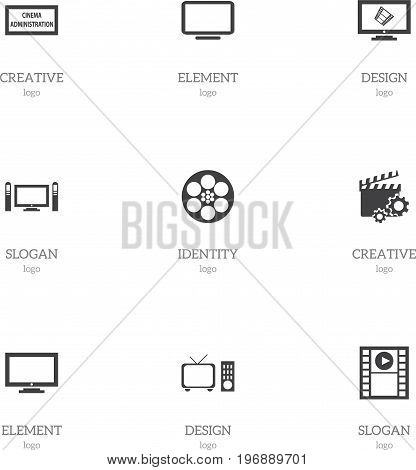 Set Of 9 Editable Filming Icons. Includes Symbols Such As Theater Agency, Reel, Display And More