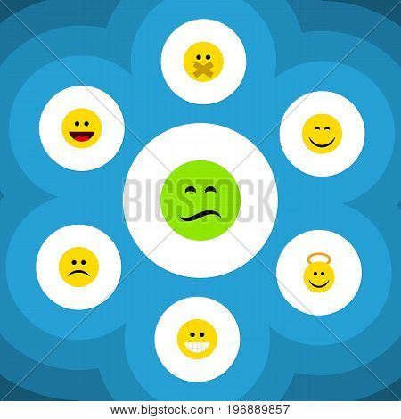 Flat Icon Gesture Set Of Frown, Sad, Angel And Other Vector Objects