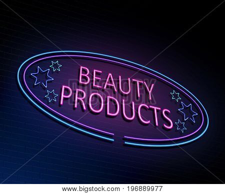 3d Illustration depicting an illuminated neon sign with a beauty products concept.