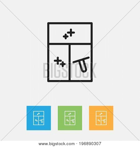 Vector Illustration Of Cleaning Symbol On Washing Glass Outline