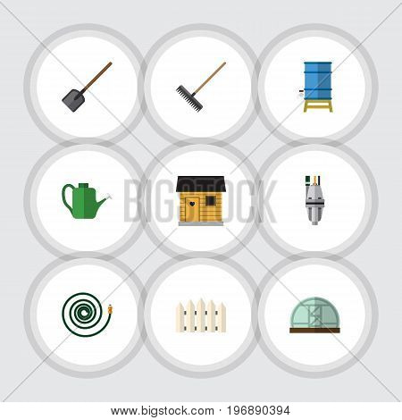 Flat Icon Farm Set Of Bailer, Stabling, Hothouse And Other Vector Objects