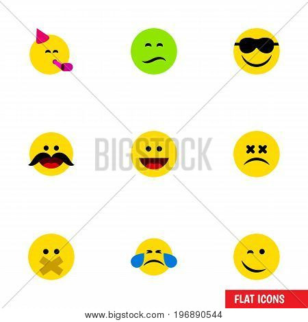 Flat Icon Gesture Set Of Cold Sweat, Winking, Frown And Other Vector Objects
