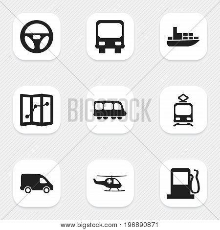 Set Of 9 Editable Transportation Icons. Includes Symbols Such As Motorbus, Ship, Tramcar And More