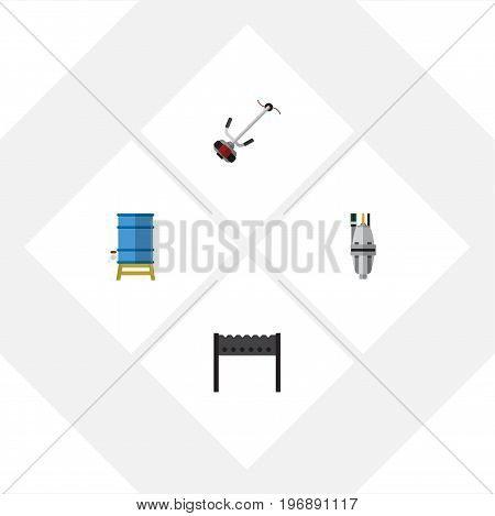 Flat Icon Farm Set Of Barbecue, Container, Pump And Other Vector Objects