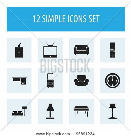 Set Of 12 Editable Furnishings Icons. Includes Symbols Such As Watch, Wall Mirror, Material Cupboard And More