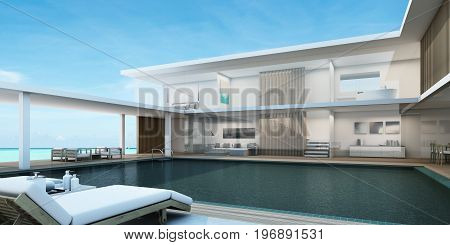 House Pool Villa Modern 2 Floors with white walls, wooden floor in the middle with swimming pool, White tone furniture, Beach chairs with sea view -3D render
