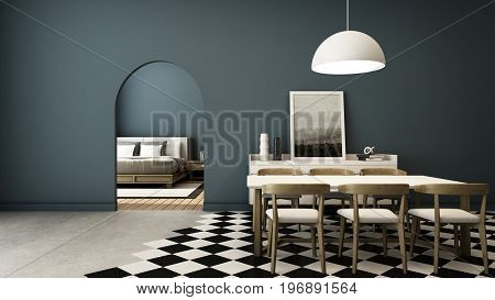 Dining room design modern luxury, blue walls, concrete floor, black and white tiles, walkway to the bedroom.