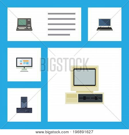 Flat Icon Laptop Set Of Display, Notebook, Processor And Other Vector Objects