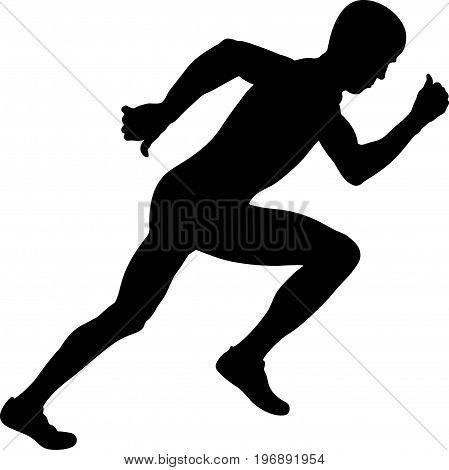 young athlete sprinter start race black silhouette