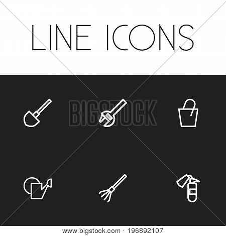 Set Of 6 Editable Equipment Outline Icons. Includes Symbols Such As Rake, Shovel, Watering Can And More