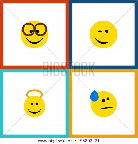 Flat Icon Expression Set Of Winking, Tears, Angel And Other Vector Objects