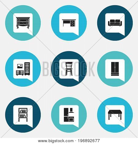 Set Of 9 Editable Furnishings Icons. Includes Symbols Such As Bookrack, Cuisine, Commode And More