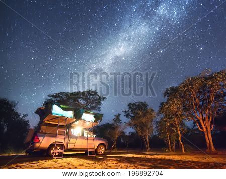 Namibia, camping nearby San People (Bushmen) village