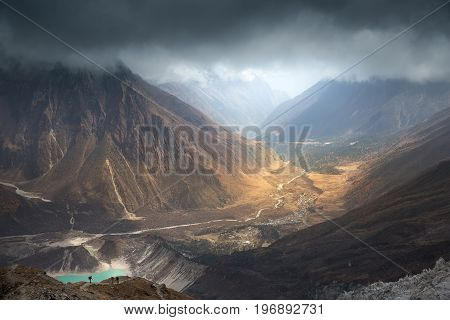 Nepal, Manaslu region, a view of the valley of the Buri Gandaki river with Birendra lake (3,450 m) and the Samagaon village (3,530 m) on the way to the Manaslu base camp (4,850 m).
