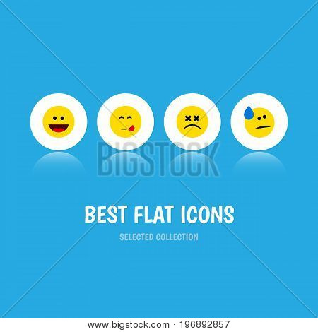 Flat Icon Expression Set Of Delicious Food, Cross-Eyed Face, Tears And Other Vector Objects