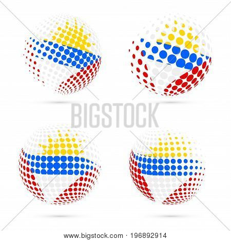 Antigua Halftone Flag Set Patriotic Vector Design. 3D Halftone Sphere In Antigua National Flag Color