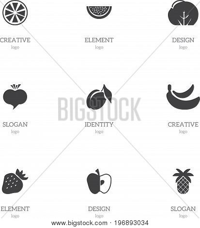 Set Of 9 Editable Fruits Icons. Includes Symbols Such As Apricot, Delicious, Radish And More