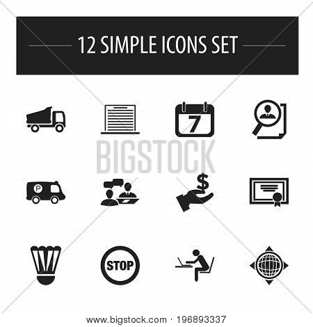 Set Of 12 Editable Complicated Icons. Includes Symbols Such As Dialogue, World, Achievement And More