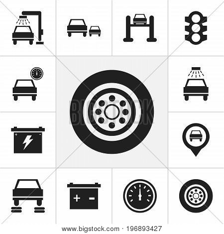 Set Of 12 Editable Transport Icons. Includes Symbols Such As Transport Clean, Odometer, Stoplight And More