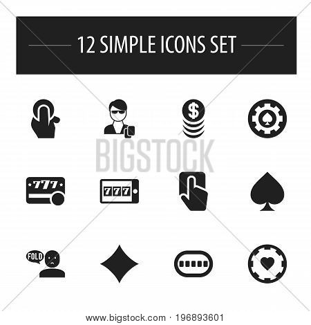 Set Of 12 Editable Business Icons. Includes Symbols Such As Raffle, Casino Chip, Stacked Money And More