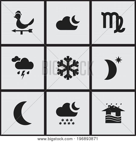 Set Of 9 Editable Climate Icons. Includes Symbols Such As Particle, Snowy Night, Breeze Direction And More