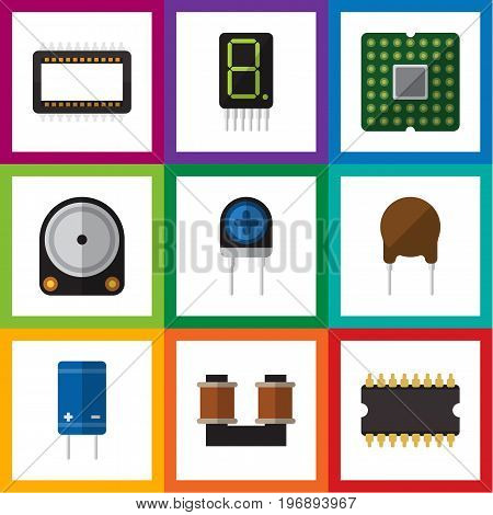 Flat Icon Appliance Set Of Mainframe, Triode, Coil Copper And Other Vector Objects