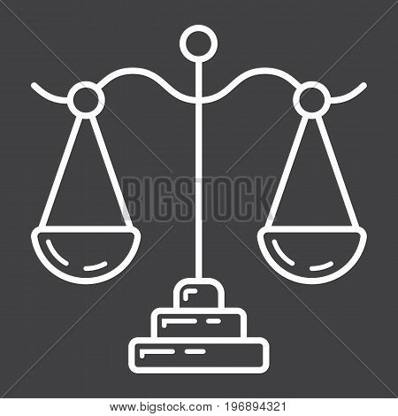 Libra line icon, business and finance, scale sign vector graphics, a linear pattern on a black background, eps 10.