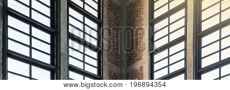 Close up on window interior to show table architect of structure minimal abstract background lowkey lighting with effect filter.