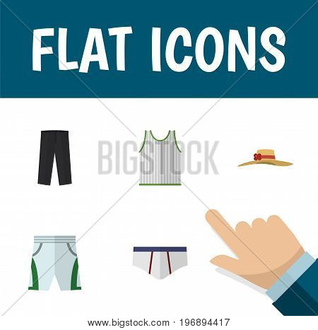 Flat Icon Clothes Set Of Elegant Headgear, Underclothes, Trunks Cloth And Other Vector Objects