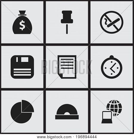 Set Of 9 Editable Office Icons. Includes Symbols Such As Money Bag, Circle Diagram, Smoking Forbidden And More