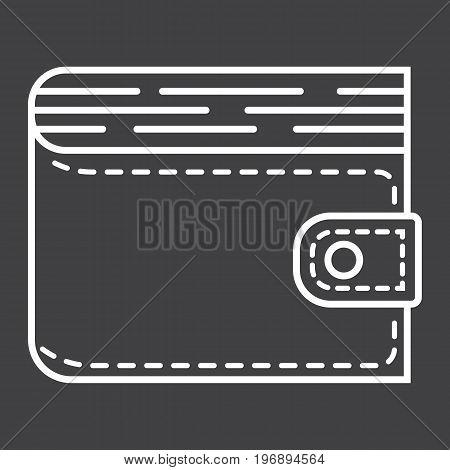 Wallet line icon, business and finance, purse sign vector graphics, a linear pattern on a black background, eps 10.