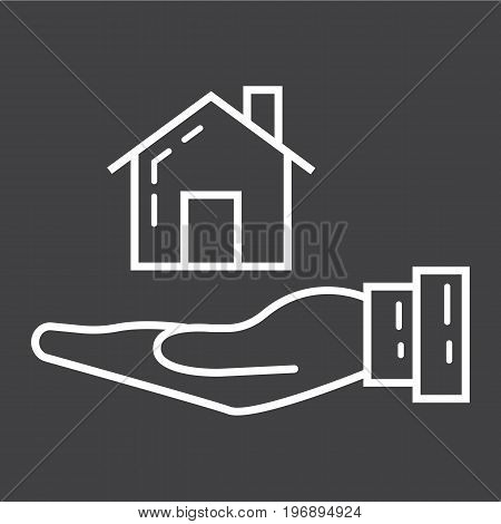 Home in hand line icon, business and finance, buy house sign vector graphics, a linear pattern on a black background, eps 10.