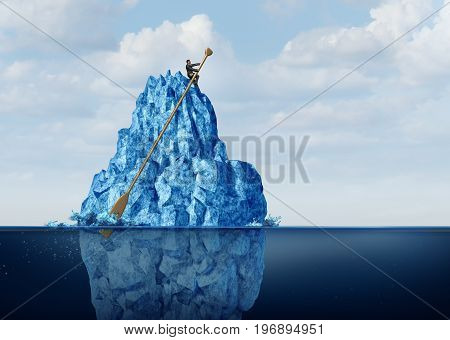 Managing business obstacles and controlling economic risk and challenges as a businessman on an iceberg with an oar navigating the danger away to prevent disaster or climate change idea with 3D illustration elements.