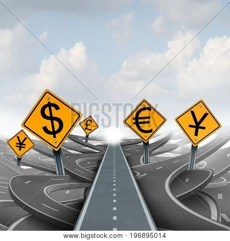 Currency strategy solution path and foreign exchange financial direction concept as a monetary dollar symbol with the Chinese yuan and Japanese yen or European euro and the british pound as a 3D illustration.