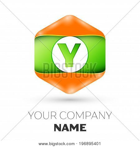 Realistic Letter Y vector logo symbol in the colorful hexagonal on white background. Vector template for your design