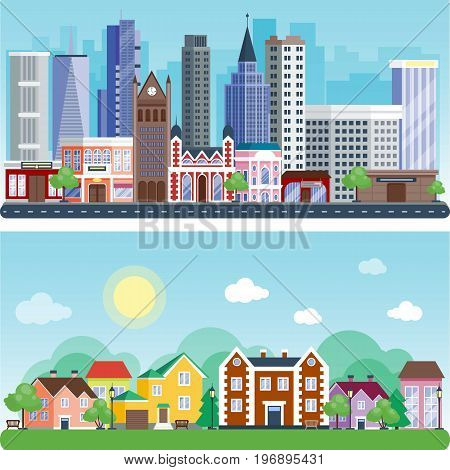 Vector city with cartoon houses and buildings. City space with road on flat style background concept. Summer urban landscape view with cityscape background modern flat style