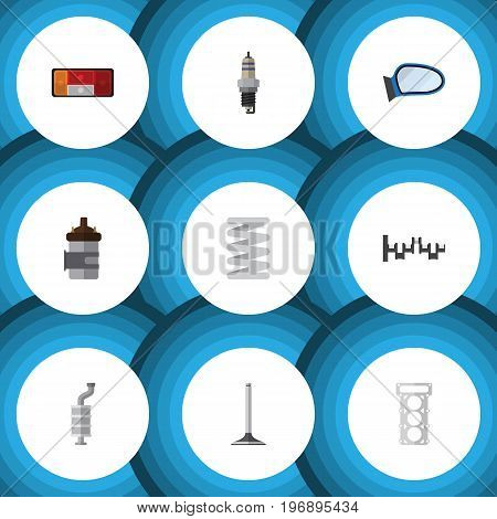 Flat Icon Component Set Of Headlight, Silencer, Spare Parts And Other Vector Objects