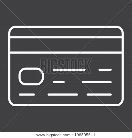 Credit card line icon, business and finance, banking sign vector graphics, a linear pattern on a black background, eps 10.