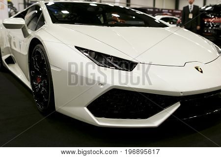 Sankt-Petersburg Russia July 21 2017: Front view of a White Luxury sportcar Lamborghini Huracan LP 610-4. Car exterior details. Photo Taken on Royal Auto Show July 21