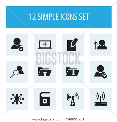 Set Of 12 Editable Internet Icons. Includes Symbols Such As Song List, Monitor, Dossier And More