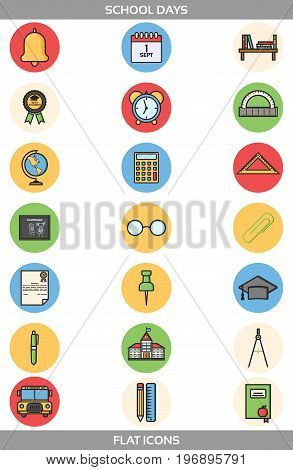Simple Set ofSchool and Office Vector FlatIcons in round forms. Contains suchIconsasschool building, bell, alarm clock, certificate, paper clip, pen, pencil, ruler, triangle ruler, compasses and more