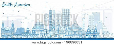 Outline South America Skyline with Famous Landmarks. Business Travel and Tourism Concept. Image for Presentation, Banner, Placard and Web Site.