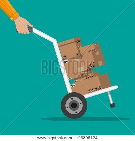Pile cardboard boxes on a hand truck. Carton delivery packaging open and closed box with fragile signs. Vector illustration in flat style