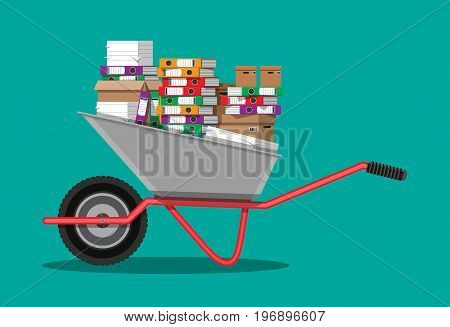 Pile of paper documents and file folders. Carton boxes. Bureaucracy, paperwork, overwork, moving to new office. Vector illustration in flat style