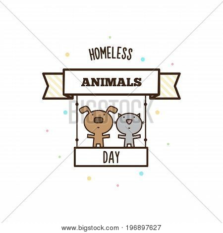Homeless animals day. Vector illustration of dog and cat.