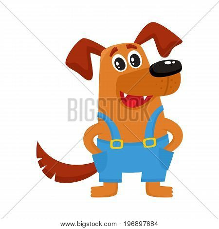 Cute brown funny dog, puppy character in blue overalls, cartoon vector illustration isolated on white background. Funny dog, puppy character in overalls standing paws in pockets